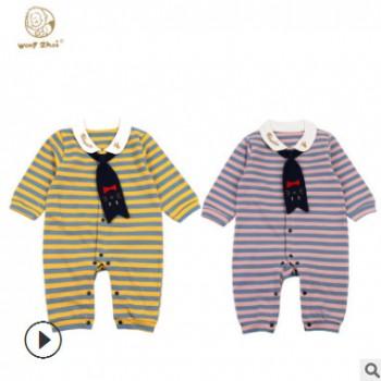 婴幼儿连体衣夏季新款婴儿卡通时尚小领带水手造型连体衣一件代发