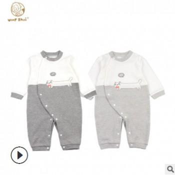 2019春秋季新款婴幼儿卡通图案连体服 纯棉长袖婴儿衣服一件代发