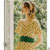 黄色波点连衣裙2019新款夏气质显瘦法国小众桔梗裙复古裙高腰裙子