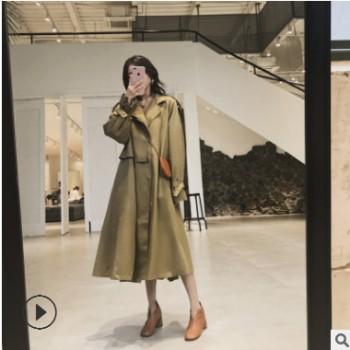 小个子卡其色工装lulu风衣女秋装2018新款中长款宽松薄款长袖外套