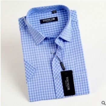 新品夏季男装短袖衬衫商务正装职业装棉免烫格子男式短袖衬衣