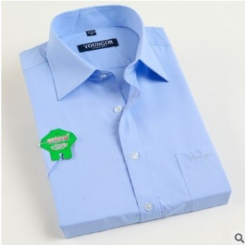 夏季新款男式短袖衬衫商务绅士正装纯蓝色职业装白领衬衣工作服