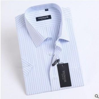 商务男士短袖条纹衬衫男正装衬衣职业装工作服大码免烫工装棉寸衫