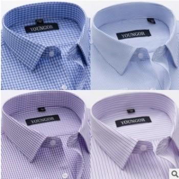夏季新款男装短袖衬衫商务绅士正装格子免烫衬衣中年男士棉衬衫