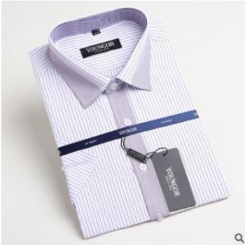 2018夏季新款男式短袖衬衫条纹男士中老年免烫衬衣商务职业装批发