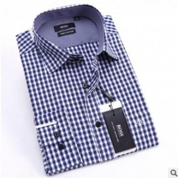 18春季新款品牌男式长袖衬衫商务休闲中年男士纯棉免烫职业装衬衣