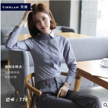 女装长袖衬衫 细斜纹棉质免烫白衬衣 修身显瘦职业装工作服上衣