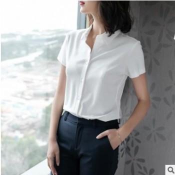 夏季女针织弹力棉短袖衬衫女式百搭上衣亲肤气质OL通勤半袖衬衣