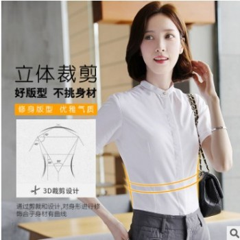 立领衬衫女短袖白色2019夏新款韩版工装职业装衬衣工作服正装批发