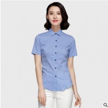 新款女士短袖衬衫蓝白格子衬衫女短袖2018春装新款修身小清新格子