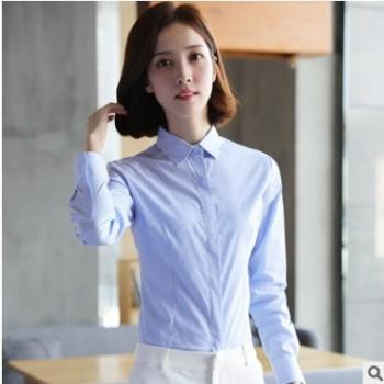 2018年新款秋冬季细条纹衬衫长袖文艺女装 蓝色弹力细条纹女衬衣