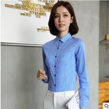 新款女士长袖衬衫蓝白格子衬衫女长袖2018春装新款修身小清新格子