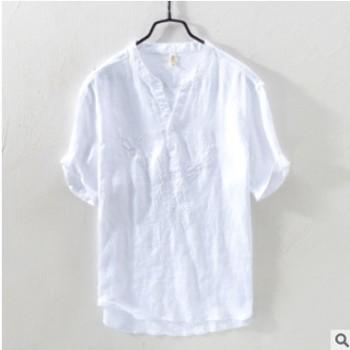 新款夏季亚麻刺绣V领休闲宽松t恤日系短袖圆领体恤男5505