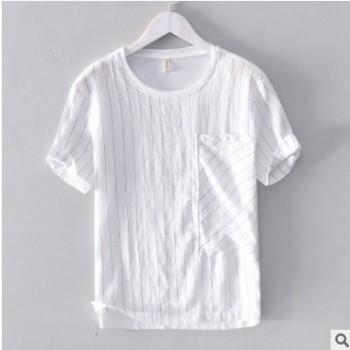 新款夏季亚麻男士T恤圆领棉麻拼接短袖男体恤休闲百搭条纹衫261