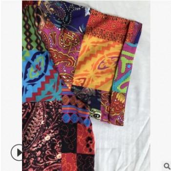 速卖通亚马逊夏季新款时尚男衬衫 欧美男式休闲方块印花短袖衬衣