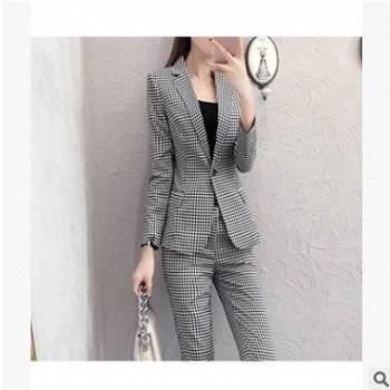 新款时尚洋气职业格子西装套装女气质长袖西服裤子两件套