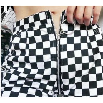 欧美跨境爆款2018eBay四季热销新款女装性感拉链格子休闲长裤现货
