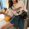 网红同款系列 2019夏季新款宽松印花T恤绑带高腰半身裙套装女爆款