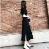 黑色雪纺连衣裙2019夏装中长款显瘦气质长裙V领开叉赫本小黑裙潮