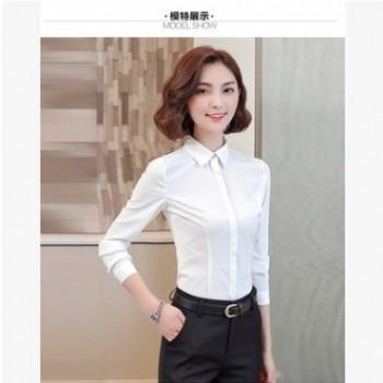 2019春秋韩版衬衫女白衬衫学生职业女装大码长袖防走光打底女衬衣
