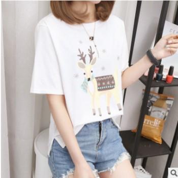 实拍95%棉 2019棉质学生卡通印花ulzzang圆领短袖T恤女