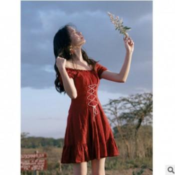 网红同款系列 烈焰之虹《立夏落日》果酱棕红短款少女浪漫连衣裙