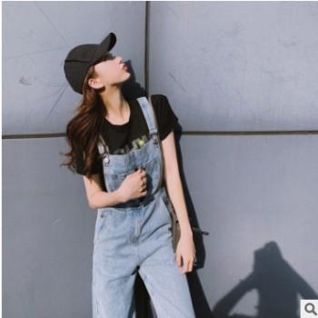 2019夏季新款网红减龄背带裤女韩版宽松高腰直筒阔腿牛仔裤可代发