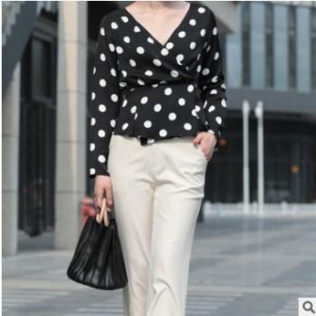 秋季热销爆款日韩女装潮流上衣 超深V领长袖OL气质女式雪纺衫批发