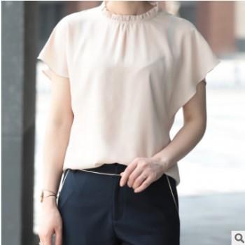 高领木耳边女装雪纺衫 2019夏季潮流女式上衣宽松职业女装打底衫