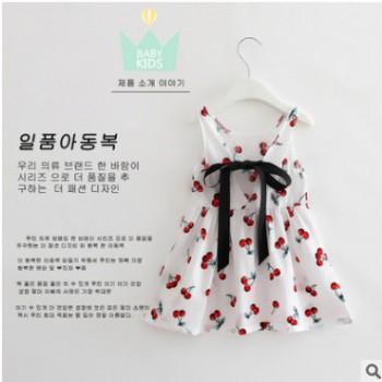 女童装樱桃图案露背背心连衣裙公主裙 工厂批发厂家直销一件代发