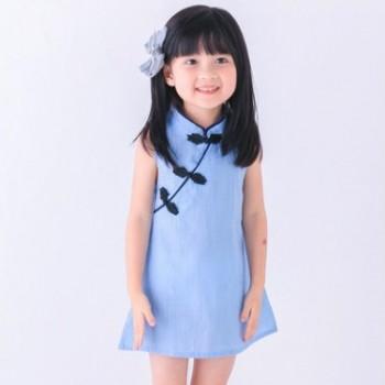 童装夏季女童旗袍纯色连衣裙棉麻唐装纽扣气质无袖背心裙子