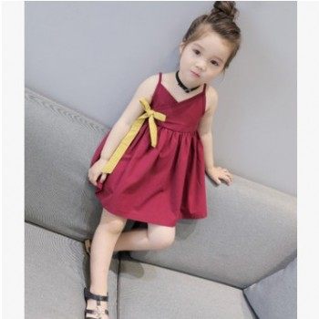 新款童装女童裙子吊带蝴蝶结连衣裙礼服 一件代发2-7岁