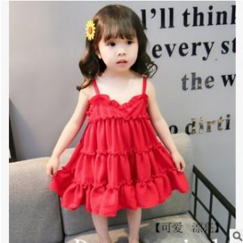 跨境2019夏季薄款女童吊带连衣裙韩版大红蛋糕裙周岁裙子一件代发