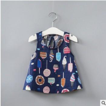 夏季款女童韩版彩色冰淇淋印花背心裙儿童装大裙摆棉麻吊带衫