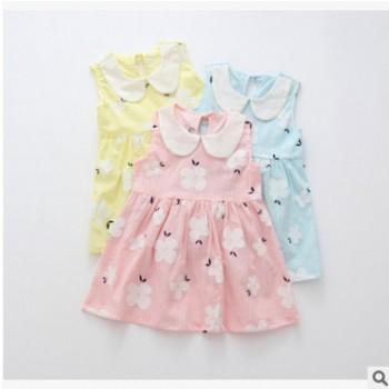 女童夏装新款韩版花朵无袖娃娃领背心裙儿童公主裙连衣裙一件代发