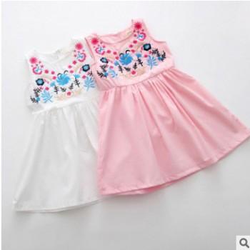 厂家直销 儿童全棉刺绣款背心裙