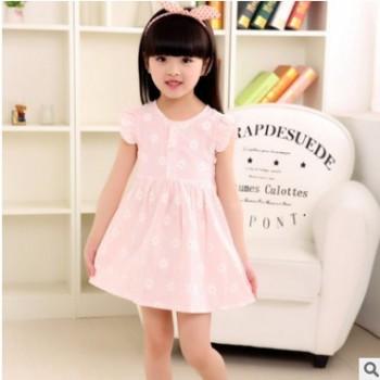 女童向阳花飞袖连衣裙 2017韩版新款夏装儿童棉麻公主裙 一件代发