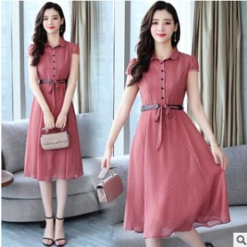 雪纺连衣裙女2019新款流行裙子夏季遮肚子中长款高端气质长裙