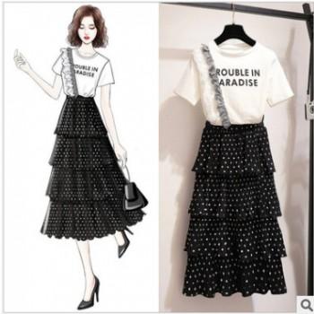【多款伙拼】2019新款韩版网纱初恋连衣裙女波点流行裙子两件套装