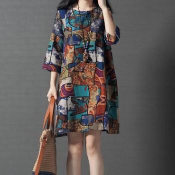 韩版宽松大码女装舒适圆领短款连衣裙 女