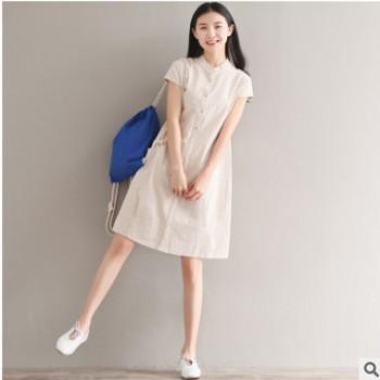 夏季文艺宽松大码休闲中长款短袖森女棉麻连衣裙