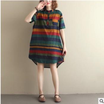 夏季文艺复古大码衬衣宽松显瘦衬衫裙中长款连衣裙 限制45