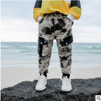 包邮儿童裤子秋冬新款迷彩裤2019韩版休闲工装裤男童跨境专供代发