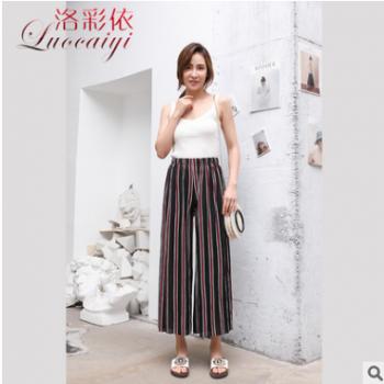 2019新款 夏季薄款女裤 高腰美人条女士阔腿裤 时尚大脚裤休闲裤