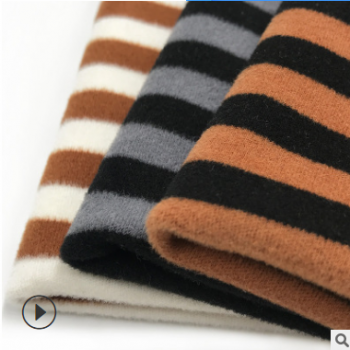 现货 澳绒色织双面抓毛针织面料 条纹布料 保暖内衣加厚340g绒布