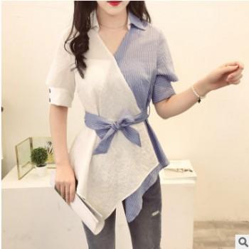 2019夏装新款韩版心机上衣设计感拼接撞色条纹衬衫网红雪纺衫