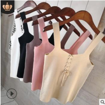 2019女装秋季新款针织吊带背心上衣短款外穿小吊带女士纯色打底衫