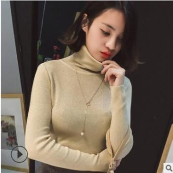 韩版2019秋冬新款毛衣女chic风高领针织衫修身套头长袖纯色打底衫