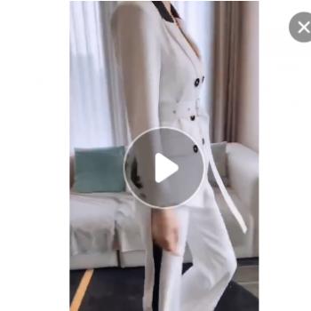 厂家直销撞色套装女2019秋季新款OL气质西装领又排扣长袖两件套女