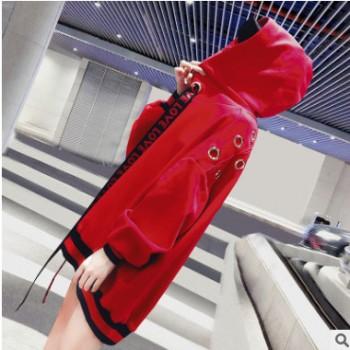 虎门淘工厂 2018秋冬新款女装连帽套头长袖宽松卫衣来样加工定制